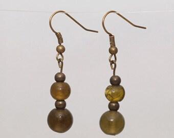 Earrings - olive green/bronze