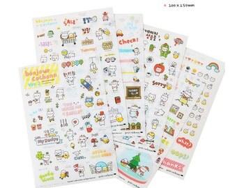 Cochonn Stickers v2, Kawaii Korean Stickers, Cute Planner Stickers, Kawaii deco sticker, 6 in 1 per pack