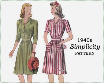 1940s Sewing Pattern - Simplicity 4423 Sewing Pattern - Misses Shirtwaist Dress - Size 18 Bust 36 - Day Dress with 2 Sleeve Lengths, Sash