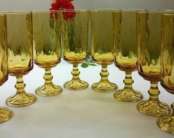HAZEL ATLAS ELDORADO Gold Iced Tea Goblets Vintage Set of 8 Circa 1960's - 1970's Drinkware