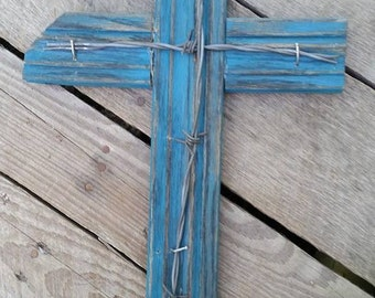 Distressed Blue Barbed Wire Cross