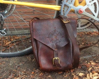 Handmade Rustic Leather Messenger Bag