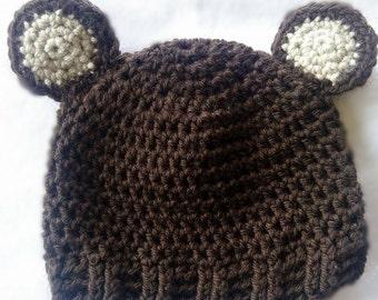 Crochet Bear Hat - 6/9 months
