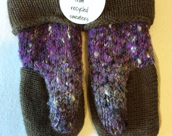 Brown, Beige and Purple Sweater Mittens