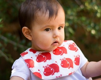 """Bib with clip pacifier holder """"Hippo"""""""
