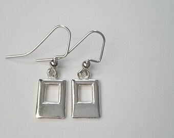 Silver Window Drops. Earrings.