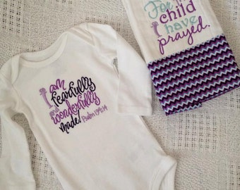Monogrammed, I am fearfully and wonderfully made,  onesie/burp cloth/baby gown
