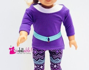 American made Girl Doll Clothes, 18 inch Girl Doll Clothing, Purple top, White Tank, Leggings made to fit like American girl doll clothes