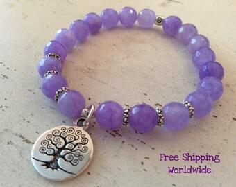 Mala Bracelet, Lavender Mala Bracelet, Tibetan Bead Bracelet, Purple Jade Mala Bracelet, Yoga Mala Bracelet, Jade Beads Mala Bracelet, Love