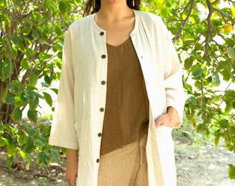 Long Cotton Summer Jacket for Women