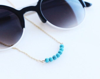 Turquoise Curved Bar Necklace / Minimalist Layering Necklace
