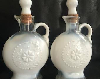 Mid Century 1950's milk glass decanter jim beam pair of vintage whiskey bottles