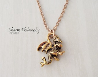 Gold Dragon Necklace - Antique Gold Jewelry - Small Dragon Charm