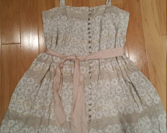 Beige tank dress with pink sash from 90s