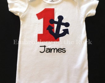 Anchor birthday, 1st birthday bodysuit, Nautical birthday shirt, Anchor first birthday, boy 1st birthday, personalized, embroidered