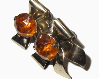 Mid Century Earrings, Bow Screw Backs with Topaz Crystal, Prong Set, Silver Tone, 1950s-1960s, Ribbon