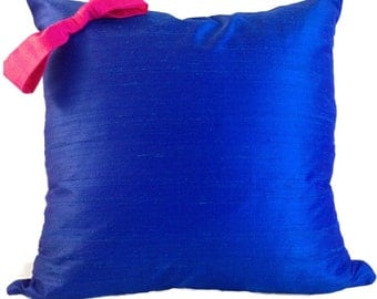 Blue and Pink Pillow Cover in SILK, Pillow with Bow, Silk Pillow Cover, Throw Pillow, 18 x 18, 20 x 20