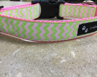 Pink & Green Chevron Collar