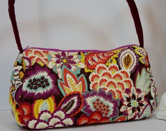 Purse Satchel top handle quilted shoulder bag  tote print cranberry maroon