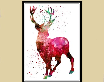 Harry Potter inspired, Stag Patronus, watercolor print, watercolor painting, aquarelle, colorful, for childrens(164b)