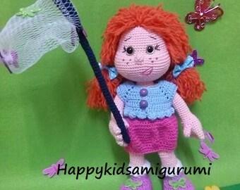 Little Girl Chasing Butterflies-Amigurumi Crochet Pattern