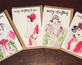 Vintage Illustrated Christmas Cards, Art Card, Christmas Card Set