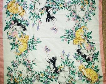Vintage cats, vintage cats scarf, vintage cats, vintage scarf.Vintage Avon, vintage avon scarf A6