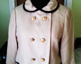 1960's jacket, vintage jacket, Jackie Onassis style, Jackie Onassis jacket, 1960's beige jacket