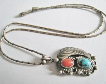 Turquoise & Coral Southwestern Style Necklace Signed - T. Begay -