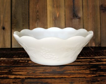 Vintage milk glass serving bowl, scalloped, grape and leaf pattern