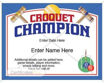 Croquet Certificate, Croquet Champion Award, croquet award template, kid certificates, friend's gift, croquet set, yard games