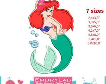 Applique Ariel. The Little Mermaid. Machine Embroidery Applique Design. Instant Digital Download (16190)