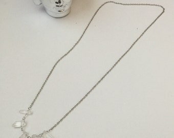 Long crystal spikes necklace