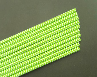 Paper Straws - green straws - green chevron straws-colorful paper straws - birthday party straws - 10 count