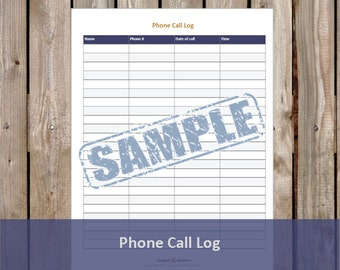 Phone Call Log - Printable and Editable PDF (Instant Download)