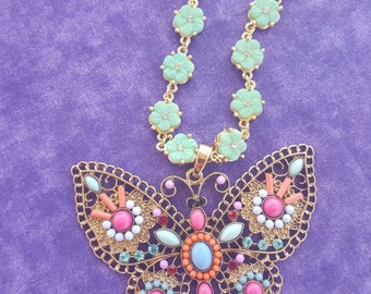 Handmade necklace with butterfly pendant