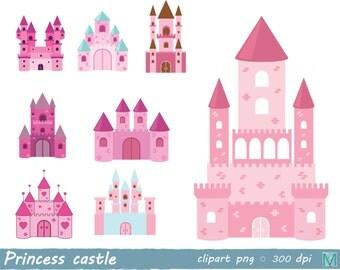 Princess castle clip art images - for Scrapbooking Card Making Paper Crafts - instant download digital file - PNG
