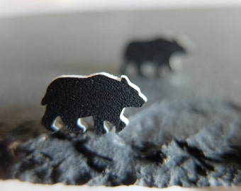 Black Bear Stud Earrings