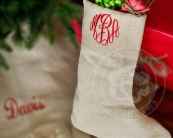 Monogrammed Christmas Stocking, Monogram Stocking, Custom Christmas Stocking, Christmas Decor