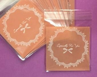 Cookie Bags-Lace Cookie Bags-Ribbon Cookie Bags-Peach Cookie Bags-Candy Bags-10cm Cookie Bags