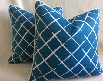 Modern Designer Pillow Covers - Dark Teal and White - 2pc Set - 20x20