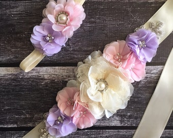 Pink purple and ivory maternity sash, pink and purple flower sash, ivory lace sash, maternity sashes, girl maternity sash, Pink and ivory