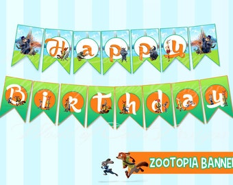 "Printable Banner ""Zootopia"" Happy Birthday (Instant download)"