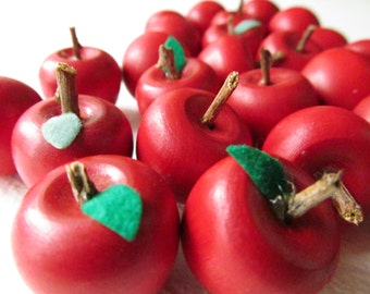 Miniature Red Wooden Apples - Lot of 30 apples