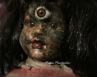 Betty- OOAK horror art doll, creepy porcelain doll, freaky doll, third eye, scary doll
