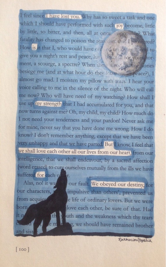 items similar to the wolf and the moon   blackout poetry