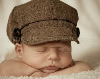 Newborn Newsboy Hat Boy Baby Brown Toddler Infant Cap fabric material button Photography Prop special occasion wedding