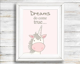 Nursery art, Unicorn print, Dreams do come true, Digital Download Print,  Wall decor, animal print, Instant download, Wall art, Home decor