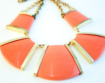 Orange Statement Necklace, 80s Citrus Hues Necklace, Autumn Necklace, Gift Her Woman Lady, Boho Luxe Festival Necklace, Large Necklace