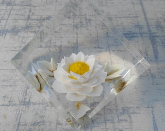 Lucite Paperweight - Flower Paperweight -  Reverse Carved Paperweight - Small Acrylic Desk Ornament - Gift Woman Lady Her